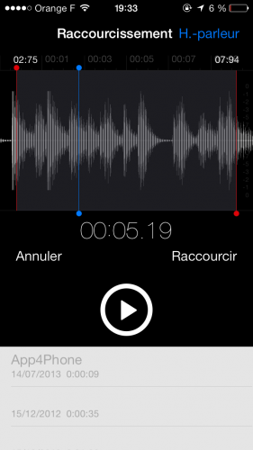 Aperçu iOS 7 dictatphone 6 281x500 Aperçu iOS par App4Phone : le dictaphone