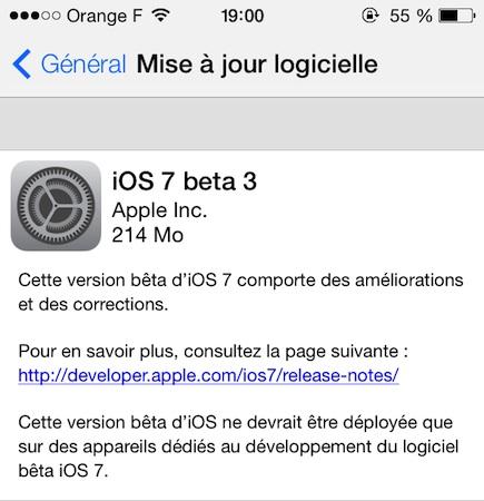 iOS 7 beta 3 iOS 7 : La bêta 3 enfin disponible