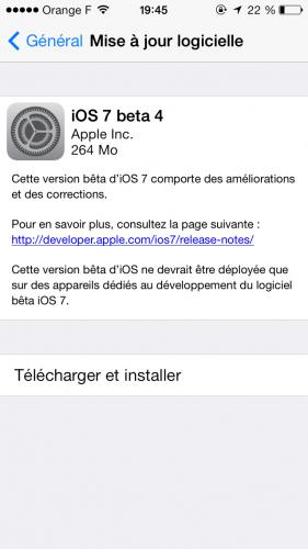 iOS 7 beta 4 281x500 La beta 4 diOS 7 est disponible au téléchargement