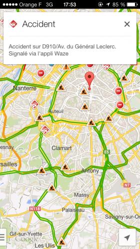 google maps waze accident 281x500 Google Maps (gratuit) relaie les rapports daccidents de Waze (gratuit)
