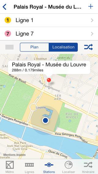 Métro Paris (0,89€) soffre une interface iOS 7