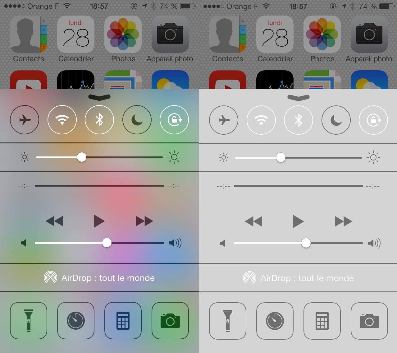 astuce iOS 7 transparence 21 Astuce iOS 7 : Supprimer les effets de transparence