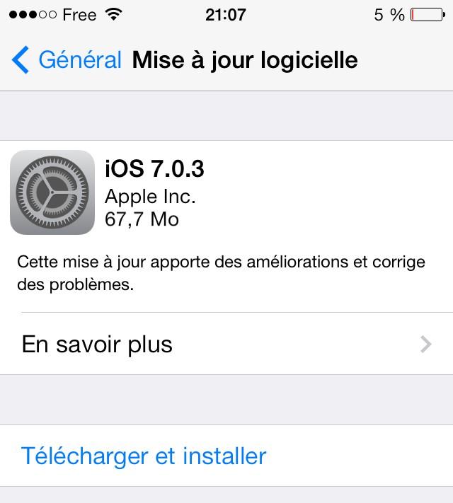 iOS 7.0.3 MISE 0 JOUR iOS 7.0.3 peut réduire efficacement les animations