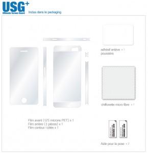 USG 2 290x300 Accessoire : Film protection intégral USG + (19,95€) pour iPhone 5/5S