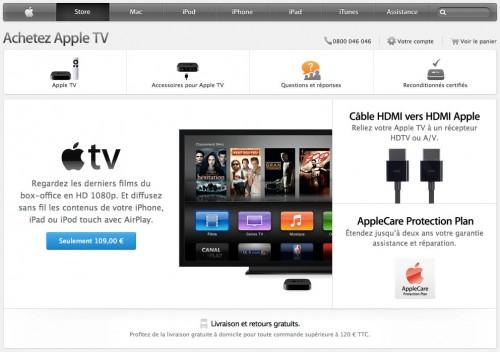 appletv site apple 500x352 LApple TV fait son nid sur le site dApple