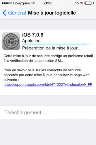 maj ios7 333x500 La mise à jour iOS 7.0.6 disponible