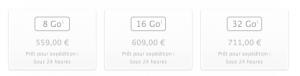 Prix iPhone 5C 300x76 iPhone 5C avec 8Go de mémoire : disponible pour 559€