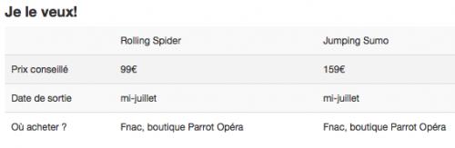 tarifs 500x163 Parrot : Le Jumping Sumo et le Rolling Spider bientôt disponibles en France