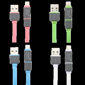 Câble Plat de Recharge et Synchronisation 2 en 1 TOTU Perfect Buddy Micro USB et Apple Lightning 2 300x300 Accessoire : câble de recharge plat Lightning et Micro USB (19,45€)