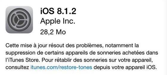 iOS 8.1.2 La « petite » iOS 8.1.2 est là, en attendant 8.2