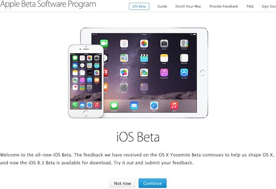 Beta Publique iOS 560x383 iOS 8.3 en bêta publique vs OS X 10.10.3 avec Force Touch